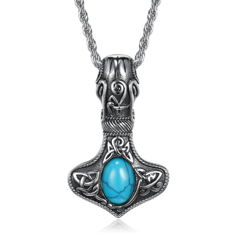 PE0292 BOBIJOO Jewelry Pendentif Collier Marteau Thor Mjöllnir Viking Turquoise