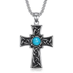 PE0290 BOBIJOO Gioielli Ciondolo a Croce latina Celtica Bretone Turchese Acciaio
