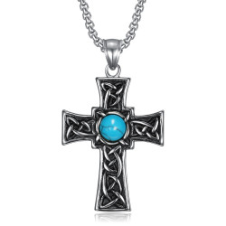 Pendentif Croix Latine Celte Breton Turquoise Acier bobijoo