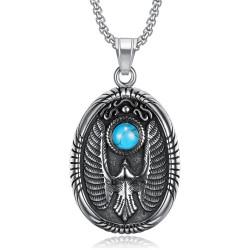 PE0289 BOBIJOO Jewelry Pendant Locket Oval Eagle Turquoise 316L Steel