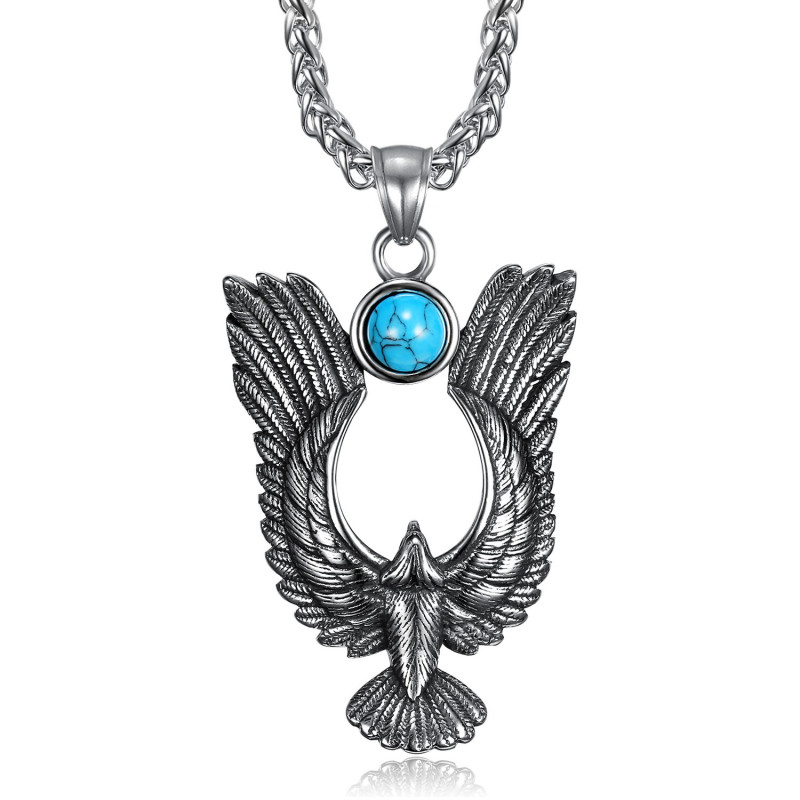 PE0287 BOBIJOO Jewelry Pendentif Aigle Royal Soleil Turquoise Acier 316L