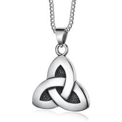 PE0286 BOBIJOO Jewelry Pendant Triquetra Celtic Trinity 316L Steel Chain