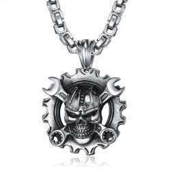 PE0280 BOBIJOO Jewelry Pendant Mechanic Motorcycle Biker Skull Large Chain
