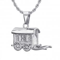 PE0197S BOBIJOO Jewelry - Anhänger-Halskette Wohnmobil-Wohnwagen-Reisender Stahl 316L