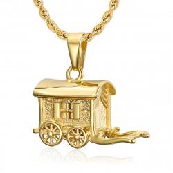 PE0197 BOBIJOO Jewelry Pendant Necklace Trailer Caravan Traveller Steel Gold