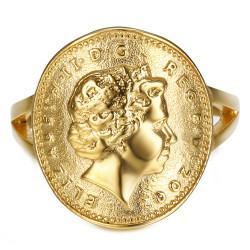BAF0042 BOBIJOO Jewelry Ring Curved One 1 Penny Elizabeth II Steel Bright Gold