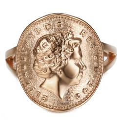 BAF0043 BOBIJOO Jewelry Ring Curved One 1 Penny Elizabeth II Steel Rose Gold Shiny