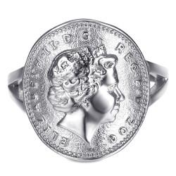 Bague Cintrée One 1 Penny Elizabeth II Acier Argent Brillant bobijoo