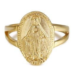 Bague Cintrée Vierge Médaille Miraculeuse 1830 Acier Or bobijoo