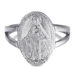 BAF0046 BOBIJOO Jewelry Ring Tailliert Jungfrau Wundertätige Medaille 1830 Silber Stahl