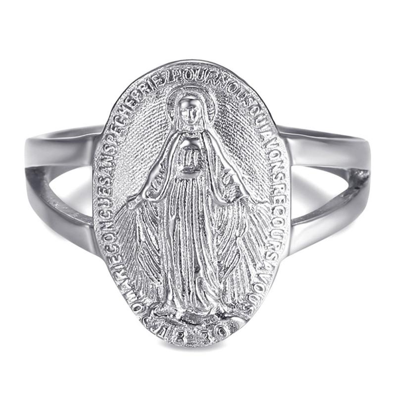 Bague Cintrée Vierge Médaille Miraculeuse 1830 Acier Argent bobijoo