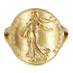 BAF0047 BOBIJOO Jewelry Ring Curved Piece Franc Sower Marianne Steel Gold