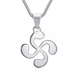 PE0182S BOBIJOO Jewelry Pendant Man Cross Basque Lauburu Steel Silver