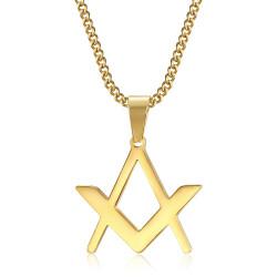 PE0297 BOBIJOO Jewelry Discreet Freemasonry Pendant Compass Square Gold