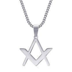 PE0298 BOBIJOO Jewelry Discreet Freemasonry Pendant Compass Square Silver