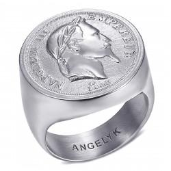 BA0387 BOBIJOO Jewelry Ring Signet Ring Napoleon III Hollow Light Silver