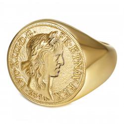 BA0388 BOBIJOO Jewelry Louis XIII Signet Ring Louis d'Or Steel Gold