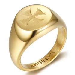 BA0390 BOBIJOO Jewelry Ring Symbol FM Lys Templar Malta Jerusalem Gold