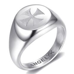 BA0391 BOBIJOO Jewelry FM Symbol Ring Templar Lily Malta Jerusalem Silver