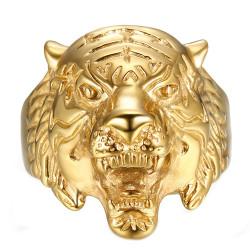 Bague Chevalière Tête de Tigre Acier Or bobijoo