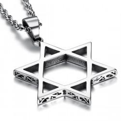 PE0103 BOBIJOO Jewelry Pendant Cross Star of David Steel Silver Decorated