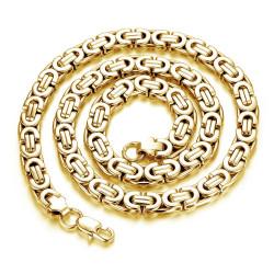 COH0001G BOBIJOO Jewelry Chain Necklace Man Byzantine Mesh 316L Steel Gold