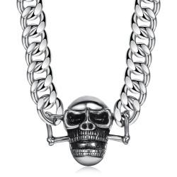 COH0003 BOBIJOO Jewelry Curb Chain Necklace Biker Skull Steel