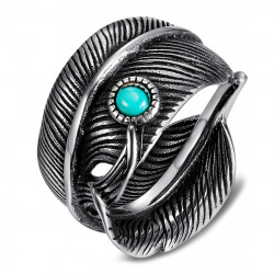 BA0392 BOBIJOO Jewelry US Turquoise Feather Biker Ring Siegel