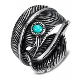 BA0392 BOBIJOO Jewelry US Turquoise Feather Biker Ring Signet