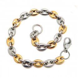 BR0280 BOBIJOO Jewelry Bracelet Coffee Bean Man Steel Golden Gold Bi Color 6mm