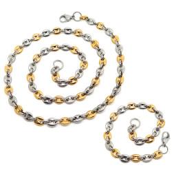 COH0026 BOBIJOO Jewelry Set Necklace Chain + Bi Color Coffee Bean Bracelet
