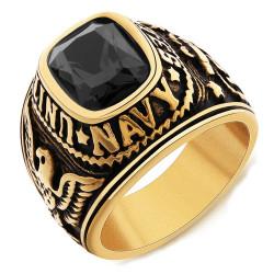 Signet Ring Navy USN United States USA Gilded Gold finish