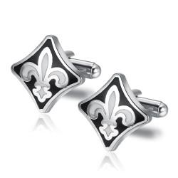 BM0018 BOBIJOO Jewelry Cufflinks Fleur de Lys Silver Black White