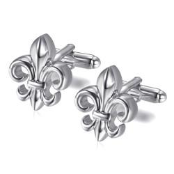 Boutons de Manchette Fleur de Lys Argenté bobijoo