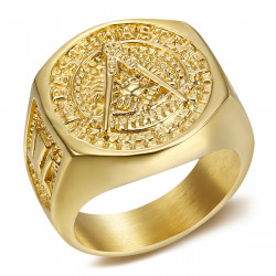 BA0011 BOBIJOO Jewelry Chevaliere Ring Steel Gilded Gold Fine Freemasonry