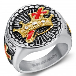 BA0134 BOBIJOO Jewelry Round Signet Ring Templar Freemason In Hoc Signo Vinces