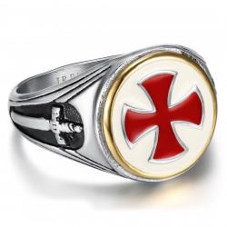 Bague Chevalière Templier Vintage Croix Rouge Epée bobijoo