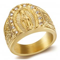 BA0272 BOBIJOO Jewelry Ring Siegel Ring Camargue Hufeisen Virgin Steel Gold