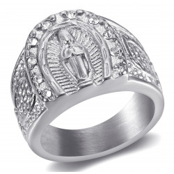 BA0272S BOBIJOO Jewelry Ring Siegel Ring Camargue Hufeisen Virgin Steel Silber