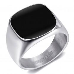 BA0316 BOBIJOO Jewelry Signet Ring Cabochon Enamelled Steel Silver