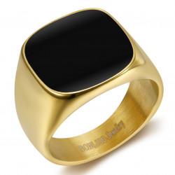 BA0317 BOBIJOO Jewelry Signet Ring Cabochon Enamelled Steel Golden