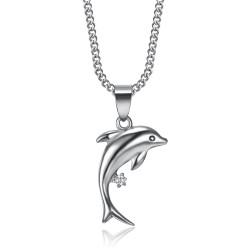 PEF0006 BOBIJOO Jewelry 316L Steel Dolphin Pendant Diamond Silver