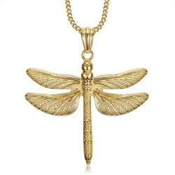 PEF0009 BOBIJOO Jewelry Large Dragonfly Pendant Necklace 316L Steel Gold