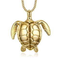 PEF0010 BOBIJOO Jewelry Large Turtle Pendant Necklace 316L Steel Gold