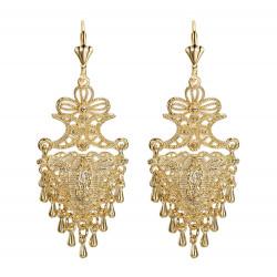BOF0103 BOBIJOO JEWELRY Earrings Dangling Silver-tone Metal Flowers