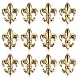 Lot de 12 Pins Fleur de Lys en laiton doré à l'or fin bobijoo