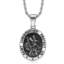 PE0099 BOBIJOO Jewelry Medaillon Anhänger Der Heilige Christophorus Schutzpatron Reisenden