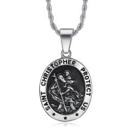 PE0099 BOBIJOO Jewelry Medallion Pendant St. Christopher Patron Travelers