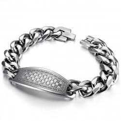GO0012 BOBIJOO Jewelry Curb Chain Bracelet Man Pad Mosaic Checkerboard