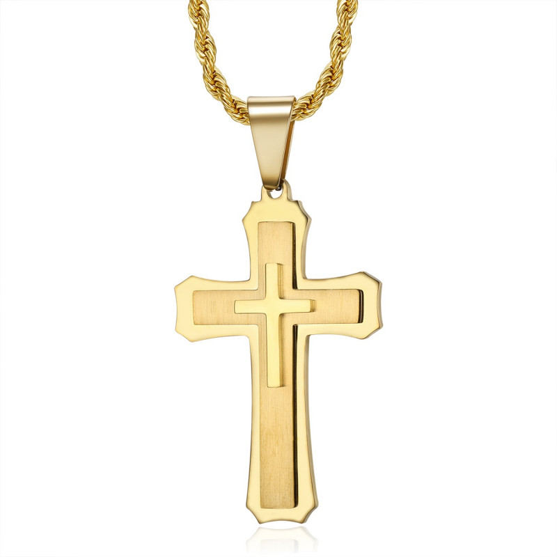 Pendentif croix homme 3 épaisseurs Acier Or bobijoo